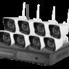 Kit di Videovigilanza Nivian - Connessione Ethernet e WiFi - Installazione Plug&Play P2P - 8 telecamere pre-registrate - Onvif